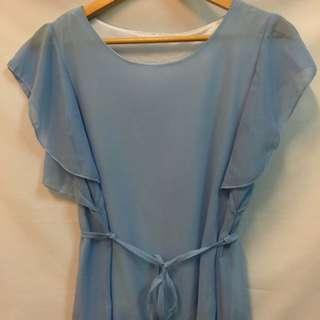 韓版 雪紡水藍色蝴蝶袖