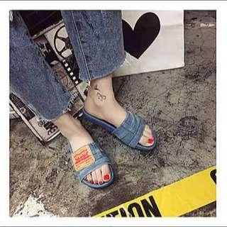 夏天 歐美 牛仔布 拖鞋 海邊 明星 著用同款