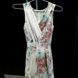 long dress sifon motif bunga