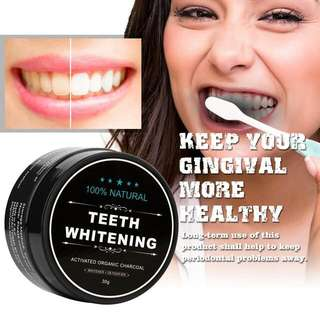 Activated Charcoal Teeth Whitening Powder + 1 Free toothbrush & Coconut Oil ; Cleaning of Stains of Smoking Coffee Removal Oral Care