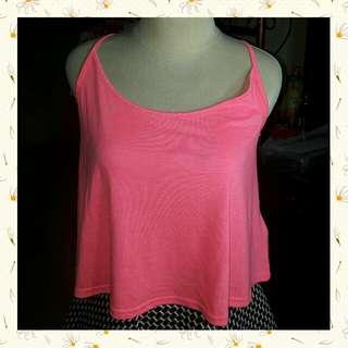 H&M Basic Divided Bright Pink Tank Crop Top / Kaos Lengan Buntung Merah Muda Terang
