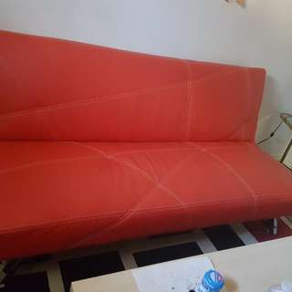 Red faux leather futon bed