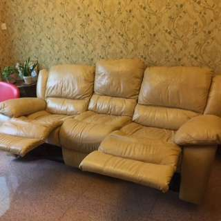 3-seater genuine leather recliner sofa 🔅