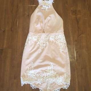 Peach Halter Neck Dress