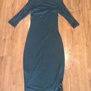 Green Fitted Maxi Dresd