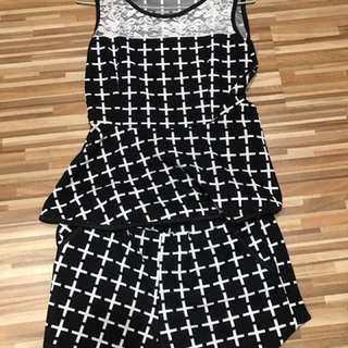 《衣櫥出清》黑白格真兩件式連身褲#200元短褲