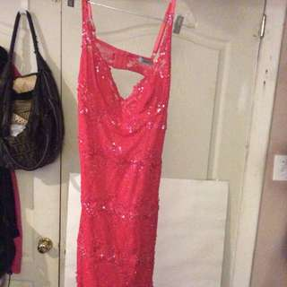Marciano Coral Lace With Beading Open Back Dress