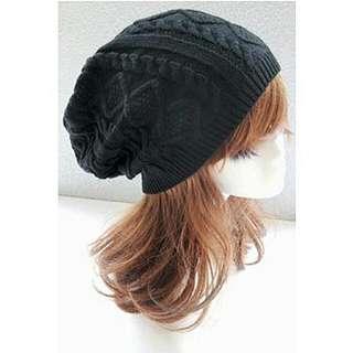 Winter Warm Wool Beanie (Black) - Women's