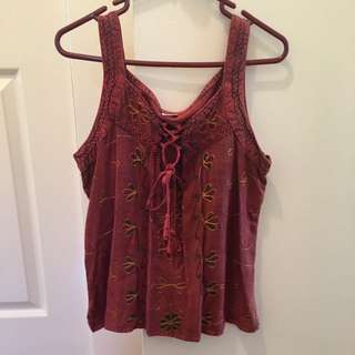 Authentic, Indian, red top with ties on front
