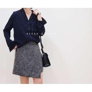 Alexa&Love 韓國深藍色氣質雪紡長袖西裝翻領雪紡襯衫(特)