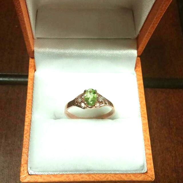 10kt Pink Gold With Perdot And Diamond Ring