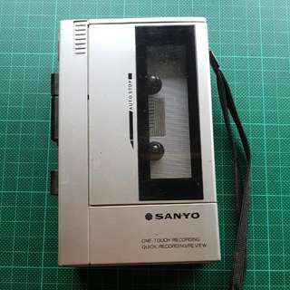 """Vintage Sanyo """"One-Touch"""" Cassette Recorder"""