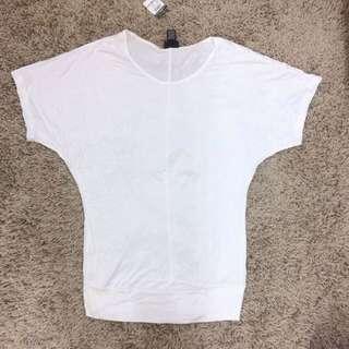美國帶回 飛鼠袖寬鬆白色短袖t恤