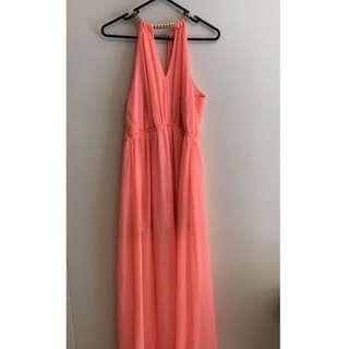 Peach Full Length Dress