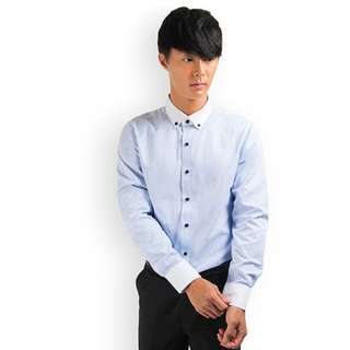 PROMOTION! Blue Stripe Shirt For Prom Night