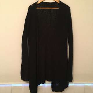 Mid Length Black Knit Cardigan