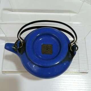 民國樂錦石制紫砂藍釉壼