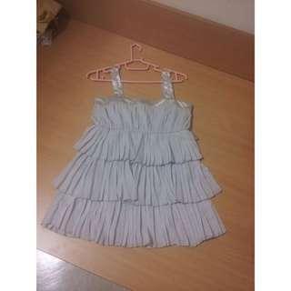 全新專櫃POMA韓國上城千金特色閃鑽肩帶雪紡洋裝