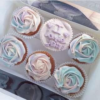 Pastel Unicorn Theme 3colours Vanilla Cupcake