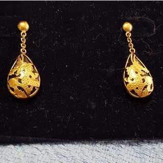 14Karat Yellow Gold Dragon Earrings Made in Korea