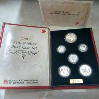 Singapore 1990 Sterling Silver Proof Coin Set