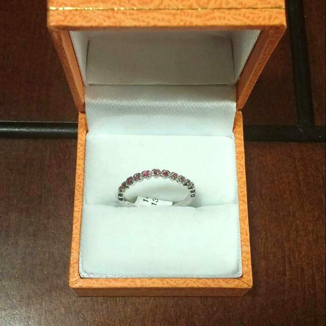 14kt white gold With Ruby Stackable Ring