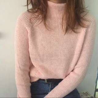 Baby pink turtleneck knitted sweater