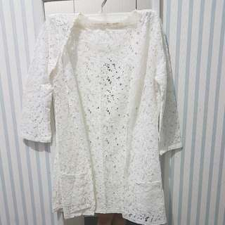 White Lace Cardi With Pearl