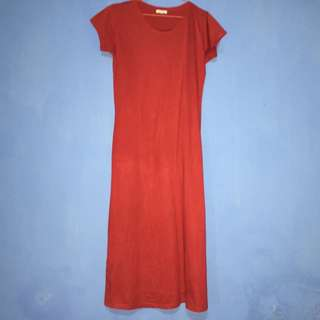 Red Loose Fit T-Shirt Dress