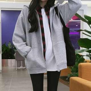 Basic Oversized Grey Hoodie Jacket