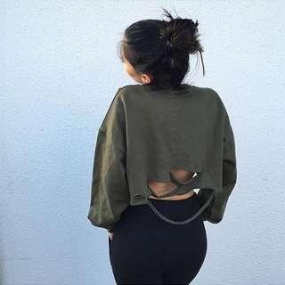 Batwing Sleeve Distressed Crop Sweater