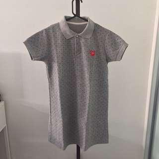 Polka-Dot Grey Polo Dress