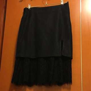 韓款絨布+喱絲裙