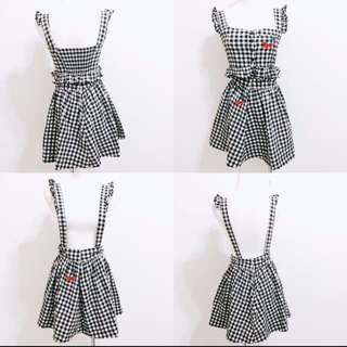 二手兩件式套裝 格紋洋裝日系可愛型