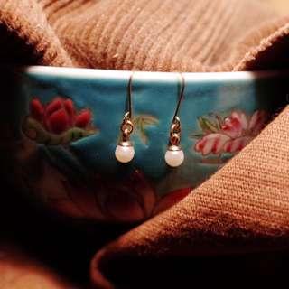 復古小珍珠垂式耳環