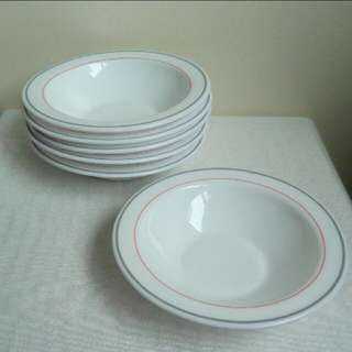 【LoveloVe】法國早期arcopal灰紅線條老牛奶玻璃湯盤