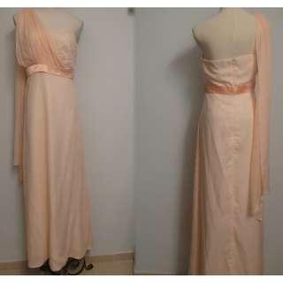 二手衫 ~90% NEW~Size S ~晚宴連身長裙 ~ 粉桃色~ 單肩~ 雪紡 ~ $68 包平郵
