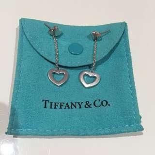 Tiffany & Co. Sterling Silver Drop Heart Earrings