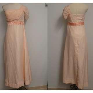 二手衫~80% NEW ~ Size S-M ~ 晚宴連身長裙 ~ 粉桃色~ 單肩~ 雪紡 ~ $68 包平郵