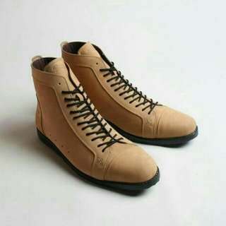 Sepatu Kulit Boots Boston Braga Highway Choco Tan