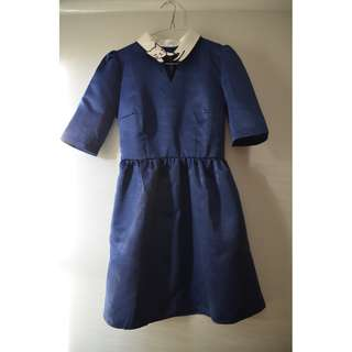 Navy Blue Cat Dress short sleeves satin finish mod cloth miss patina