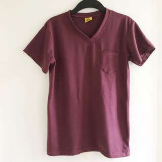 Maroon V-neck plain shirt