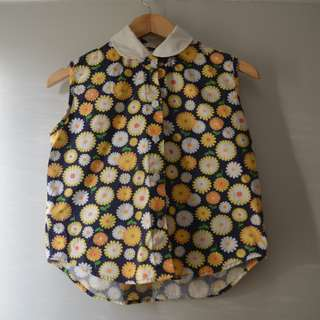 Vintage Sleeveless Flower Print Top Floral Buttons Scandinavian Print Cute Collar