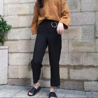 <全新僅試穿便宜賣只求售出>金屬釦環高腰西裝褲