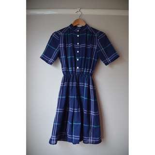Gingham Purple Vintage Dress Short Sleeve Shirt Style Dress Checkered Retro