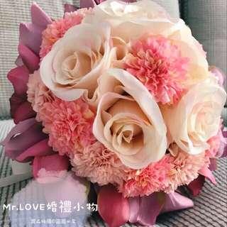 韓式仿真花 新娘捧花 結婚捧花 新娘 伴娘 玫瑰花瓣仿真花 手捧花 婚紗道具 結婚迎娶 [Mr.LOVE👰🏻]