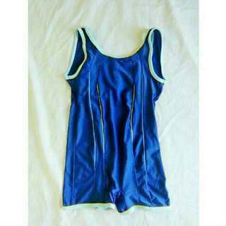 Blue Backless One Piece With Free Cap