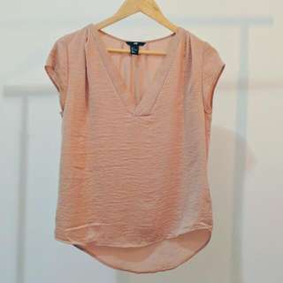 H&M BLOUSE Silky Pink V-Neck TOP AU 8 Small