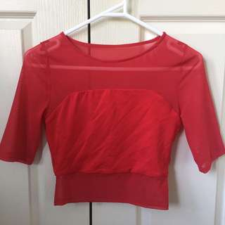 Kookai Red Crop Top