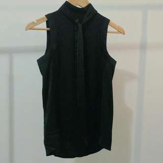 H&M BLOUSE Silky Black High Neck With Tie AU 8 Small